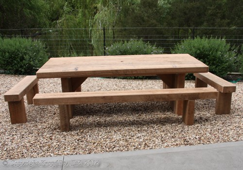 table and bench outdoor furniture setting - Solid Timber Outdoor Furniture Manufacturers - Sleeper Tables